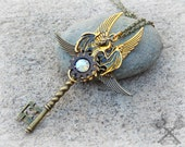 Dragon Fantasy Key Necklace / Steampunk Accessories / Key to my Heart Necklace / Skeleton Key Necklace / Dragon Necklace / Steampunk Dragon