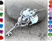 Custom Silver Dragon Necklace / Key to my Heart Necklace / Personalized Necklace / Swarovski Crystal Necklace / Skeleton Key Necklace
