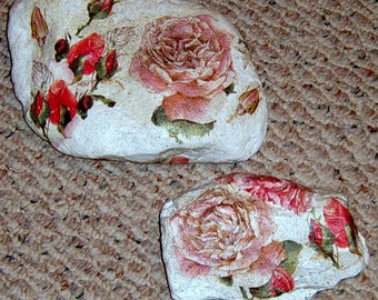 Decoupage Rock,  Decorated rock, Door Stop, Patio decor, Roses, Two Rocks,    Altered rocks, Shabby Chic