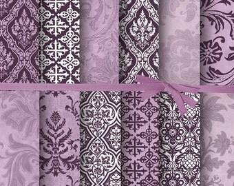DIGITAL PAPER VINTAGE:Damask Digital Paper, Digital Scrapbooking Paper, Plum Digital Paper, Amethyst Paper, Purple digital paper, 15104