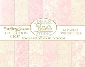 DIGITAL PAPER VINTAGE:Pink and Ivory Damask Digital Paper, Digital Scrapbook Paper, Damask Digital Paper, Pink and Ivory Digital Paper 13037