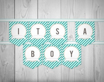 Travel // Hot Air Balloon Party Printables // Teal Banner A-Z // Instant Download