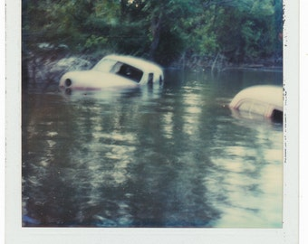 Cars Afloat 002 SX 70 Polaroid abstract art Photography vernacular photo snapshot odd found phot
