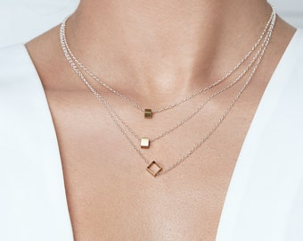 Hollow Box Necklace, Square Brass Shape on Silver Chain by Camillette