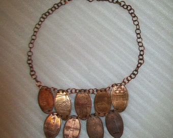 Custom Elongated Smashed Copper Penny Necklace