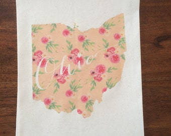 Floral Ohio Flour Sack Tea Towel