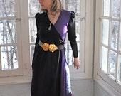 Side Slit Wool Knit Adolfo Sweater Dress/Vintage 1970s/Purple and Black Color Block Wrap Style Dress/Size Medium
