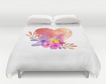 Duvet Cover, Pink Floral Heart, Queen Duvet Cover, King Duvet Cover, Twin Duvet Cover, Original Watercolor Art,  Bedding