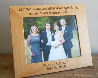 "Personalized Parents of Bride & Groom Picture Frame for 8"" x 10"" photo: Personalized Gift for parents of bride groom, Wedding Gift Parents"