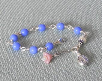 Girl's Guardian Angel Bracelet, Periwinkle Blue Archangel St. Michael, Czech Glass, Swarovski Pearl Little Girl Bracelet