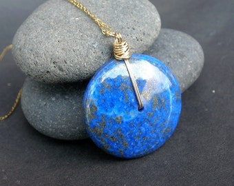 Lapis Lazuli Round Disc Pendant, 14kt Gold Filled Wire Wrapped Chain Necklace, Blue Stone Necklace