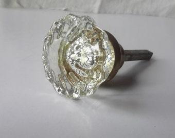 Crystal glass and brass vintage doorknob square shaft VGC