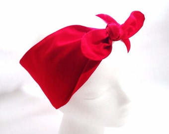Cotton adjustable handmade headband RED