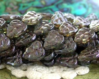 Leaf Beads, 1 Strand 25 ~10 x 8mm Czech Glass Transparent Green Luster Leaf Beads, Czech Glass Beads, Leaves CZ-629