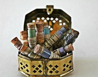 antique/vintage china paint glass vials, glass vials w/ corks, vintage paint supplies, antique paint