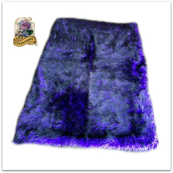 Faux Fur Area Rug Rectangle Shaggy Soft Purple With Black