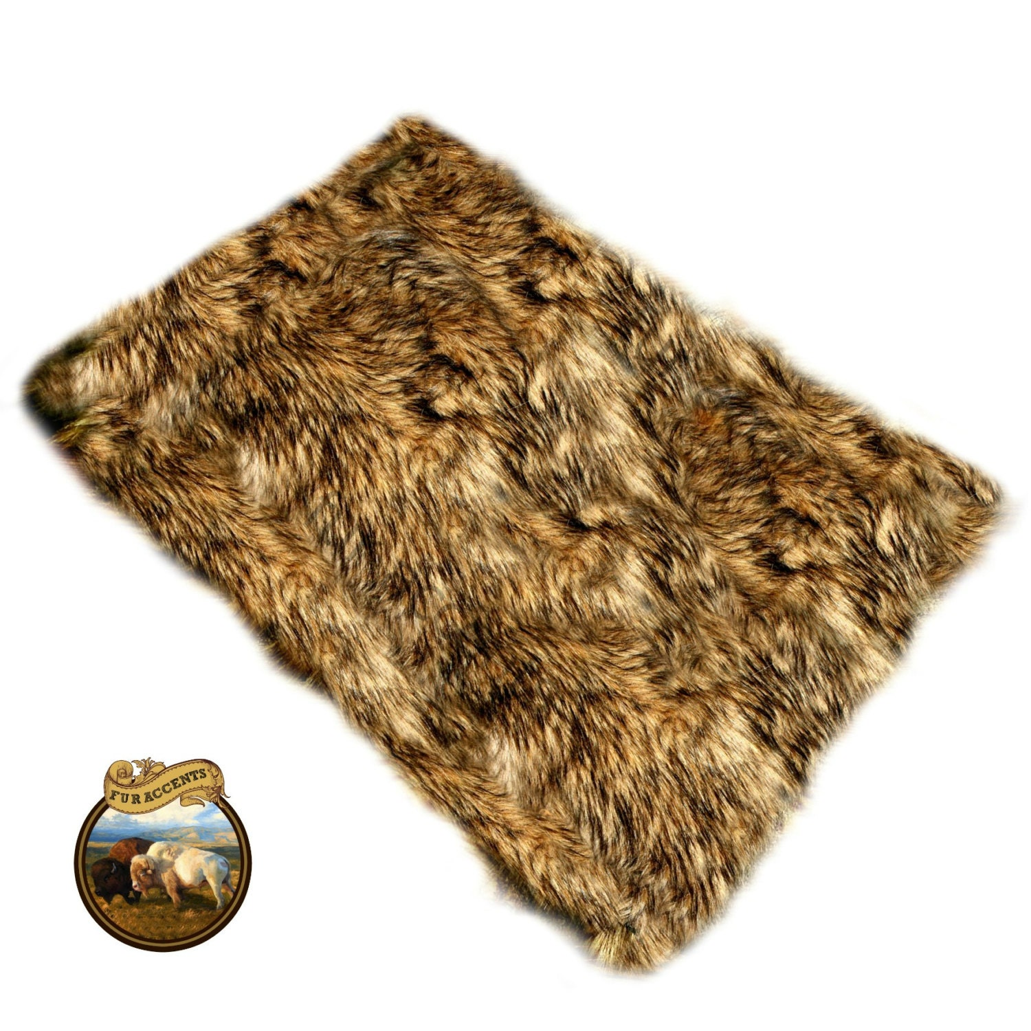Plush Faux Fur Accent Rug Golden Brown Wolf Skin Coyote