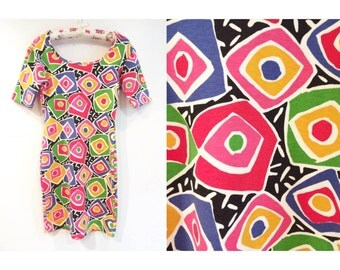 Crazy 80s Abstract Geometric Patterned Dress Large