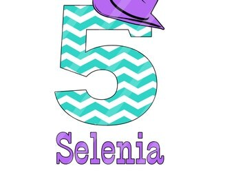 Cowgirl Hat Birthday Number Digital Download for iron-ons, heat transfer, T-Shirts, Onesies Scrapbooking, Cards, Tags, DIY, YOU PRINT
