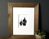 SALE - Linocut Print - Abstract Vases Illustration 5 x 7 Block Print - 1-5001