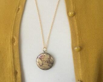 Map Locket Necklace Travel Wanderlust Gold Chain