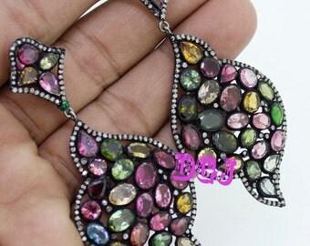 2.35 ct rose cut diamonds turmaline victorian antique silver earring dangle MVE_0070 Free SHIPPING