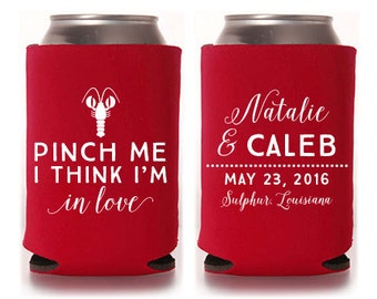 Custom Party Favor - Pinch Me I Think I'm in Love - Crawfish Boil Can Coolers