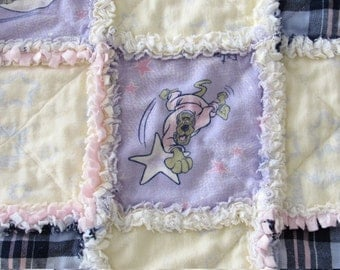 SCOOBY-DOO Homemade 3-layer Cotton Flannel Baby Rag Quilt Minky Blanket Vintage Scooby Doo Fabric Girl Boy