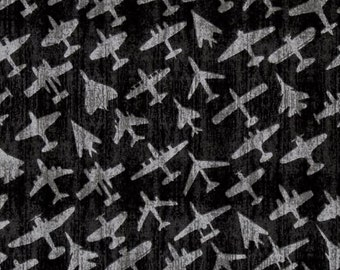 Quilting Treasures - Aviator by Dan Morris - Plane Silhouettes - Charcoal