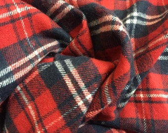 Cotton Smooth Finish Plaid Flannel - Red/Navy