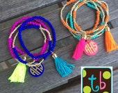 Personalized Monogram Tassel Stretch Bracelets
