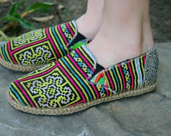 Espadrilles Vegan Womens Loafers, Colorful Hmong Embroidered Slip On Shoes - Morgan