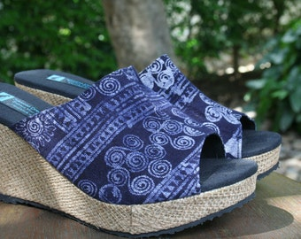 Batik Womens Wedge Heel Sandal, Ethnic Slide Shoe,  Open Toe Slip On Summer Shoes - Sophie