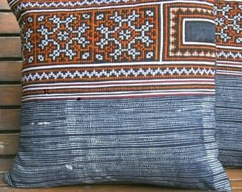 "Hmong Pillow Cushion Ethnic Embroidery And Indigo Batik 16 ""  Decorative Throw Pillow Cushion, ** Free shipping **"