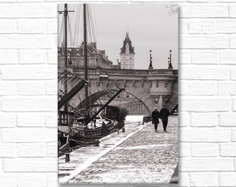 Paris Photography on Canvas - Riverside walk, Gallery Wrapped Canvas, Large Wall Art, Black and White, Architectural Urban Home Decor