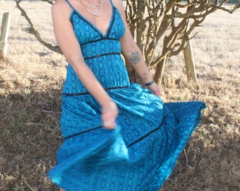 Teal Balinese textile Patterned Long Flowy Hippie Dress