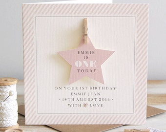 Personalised Star First Birthday Card