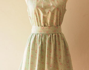 SALE Size Small - Rustic Style Dress Green Petite Floral Dress Midi Collar Illusion Tea Party Wedding Bridesmaid Dress