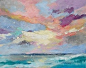 "Painting on Paper, Ocean Waves, Sunrise, Clouds, Sky Painting, Colorful ""On the Water"""