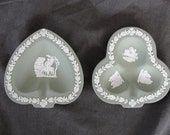 Vintage Sage Green Wedgwood Jasperware Card Suit Pin Trays