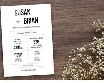 Wedding Invitation, Printable, Modern, Clean wedding invitation - DIY