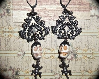 Black Brass Patina Filigree Skulls & Lizard Earrings