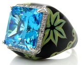 Fashion 18K White Gold Italian Black and Blue Enamel Diamond BLUE QUARTZ Ring