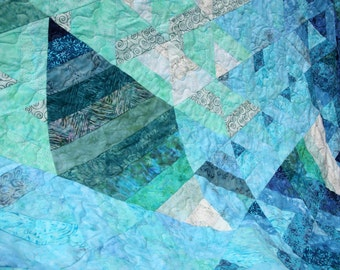 Ocean Diamond Batik Queen / King Patchwork Quilt, Handmade by Pingwynny