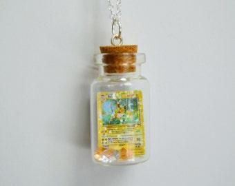READY TO SHIP, Bottled Holographic Raichu Pokemon Card Necklace/Phone Charm/Keychain
