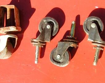 Four Swivel Coaster Wheels  -  repurpose  -  salvage  -  reuse  -repair -industrial
