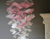 Flower nursery mobile / baby mobile from pink and ivory card stock --- Flower nursery, babyroom, baby gift or baby mobile