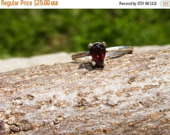 25% OFF Pear Cut Garnet Solitaire Ring In Sterling Silver