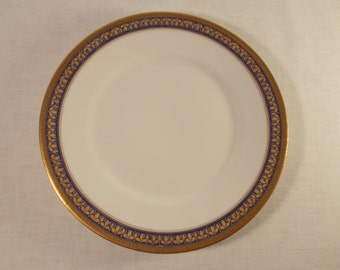 Union Ceramique, Limoges for Marshall Fields 10 Cobalt  Blue and Gold Luncheon Plates