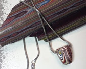 Fordite: Corvette Overspray Car Paint - Hand Cut Pendent on a Vintage Sterling Silver Snake Chain